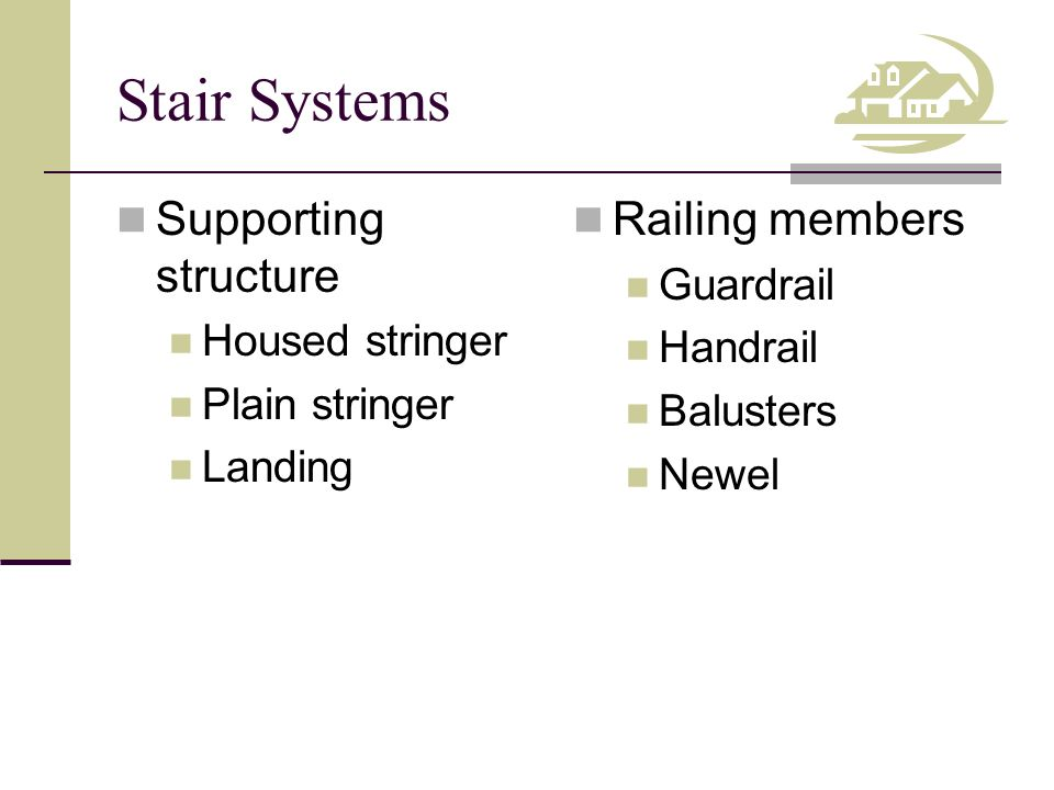 Stair Systems Supporting structure Housed stringer Plain stringer Landing Railing members Guardrail Handrail Balusters Newel