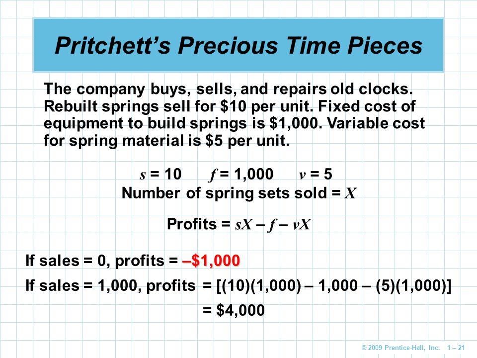 © 2009 Prentice-Hall, Inc. 1 – 21 Pritchett's Precious Time Pieces Profits = sX – f – vX The company buys, sells, and repairs old clocks. Rebuilt spri