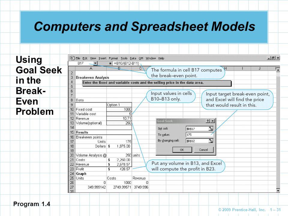 © 2009 Prentice-Hall, Inc. 1 – 31 Computers and Spreadsheet Models Using Goal Seek in the Break- Even Problem Program 1.4