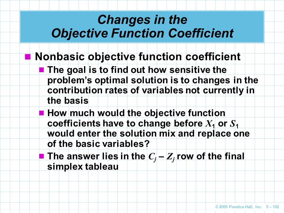 © 2009 Prentice-Hall, Inc. 9 – 102 Changes in the Objective Function Coefficient Nonbasic objective function coefficient The goal is to find out how s