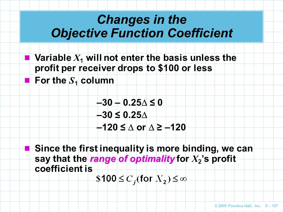 © 2009 Prentice-Hall, Inc. 9 – 107 Changes in the Objective Function Coefficient Variable X 1 will not enter the basis unless the profit per receiver