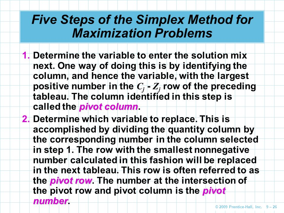 © 2009 Prentice-Hall, Inc. 9 – 26 Five Steps of the Simplex Method for Maximization Problems pivot column 1.Determine the variable to enter the soluti