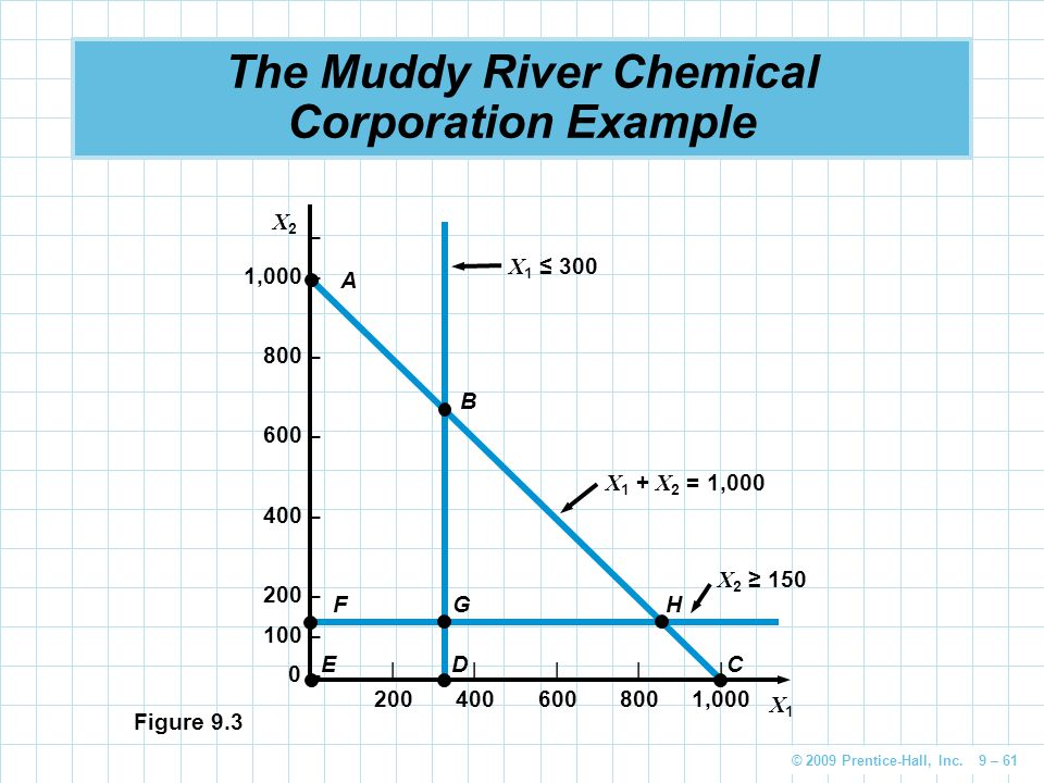 © 2009 Prentice-Hall, Inc. 9 – 61 The Muddy River Chemical Corporation Example – 1,000 – 800 – 600 – 400 – 200 – 100 – 0 – |||||| 2004006008001,000 X2