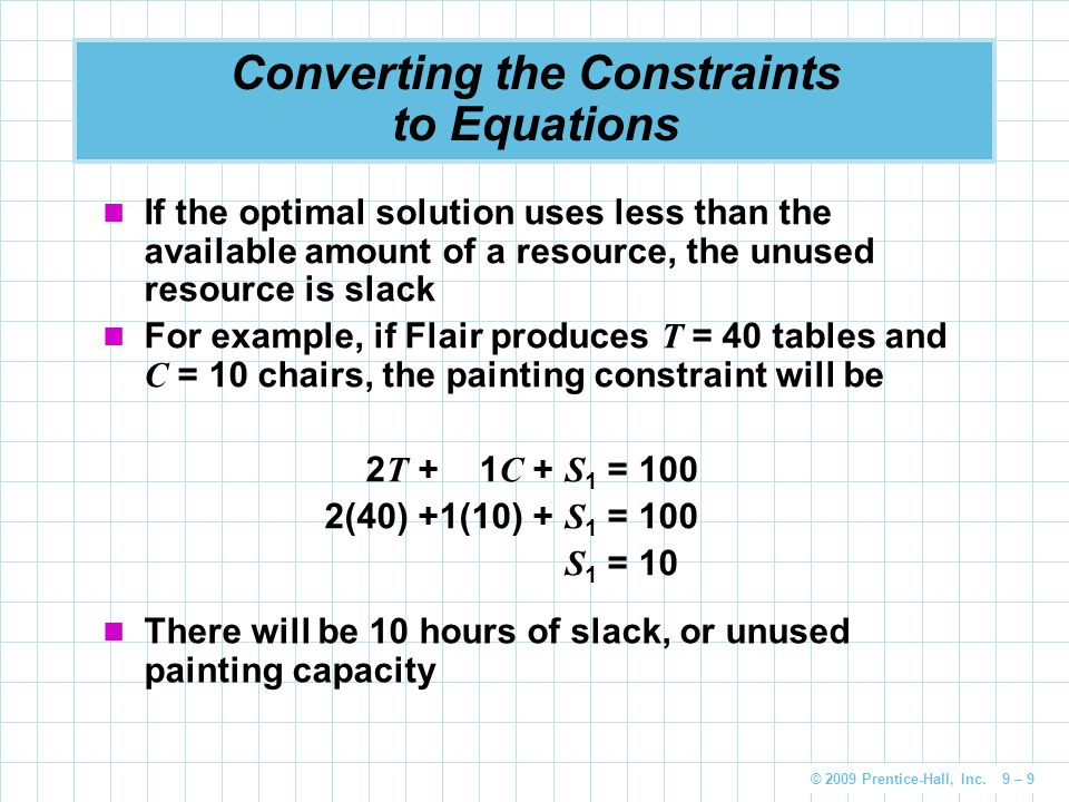 © 2009 Prentice-Hall, Inc. 9 – 9 Converting the Constraints to Equations If the optimal solution uses less than the available amount of a resource, th