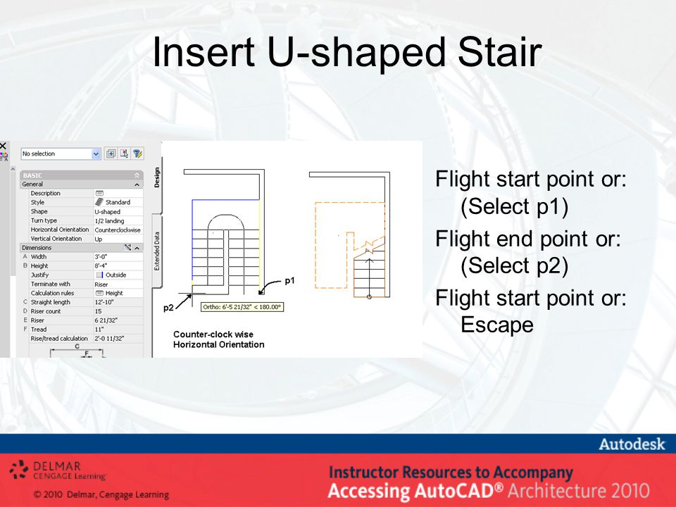 Insert U-shaped Stair Flight start point or: (Select p1) Flight end point or: (Select p2) Flight start point or: Escape