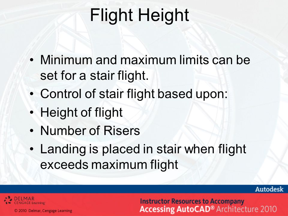Flight Height Minimum and maximum limits can be set for a stair flight.