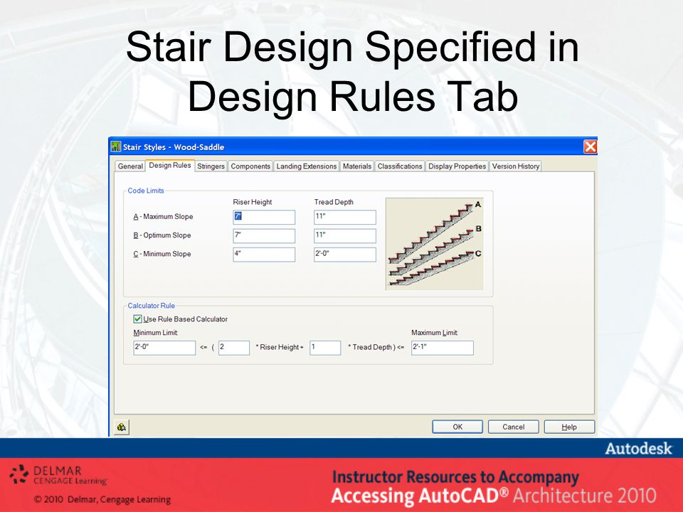 Stair Design Specified in Design Rules Tab