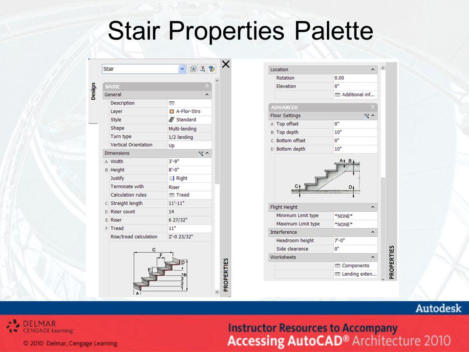 Stair Properties Palette