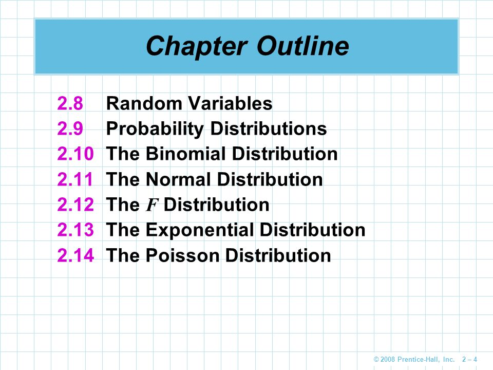 © 2008 Prentice-Hall, Inc.2 – 45 Probability Distribution of a Discrete Random Variable Dr.