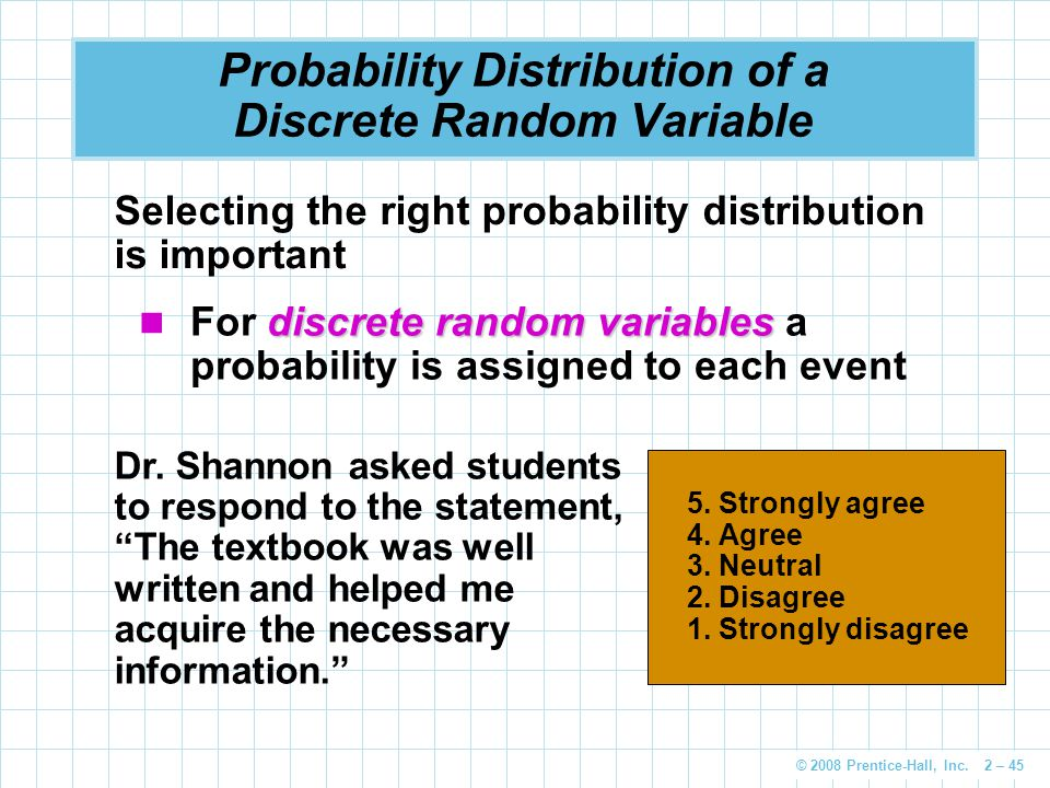 © 2008 Prentice-Hall, Inc. 2 – 45 Probability Distribution of a Discrete Random Variable Dr.