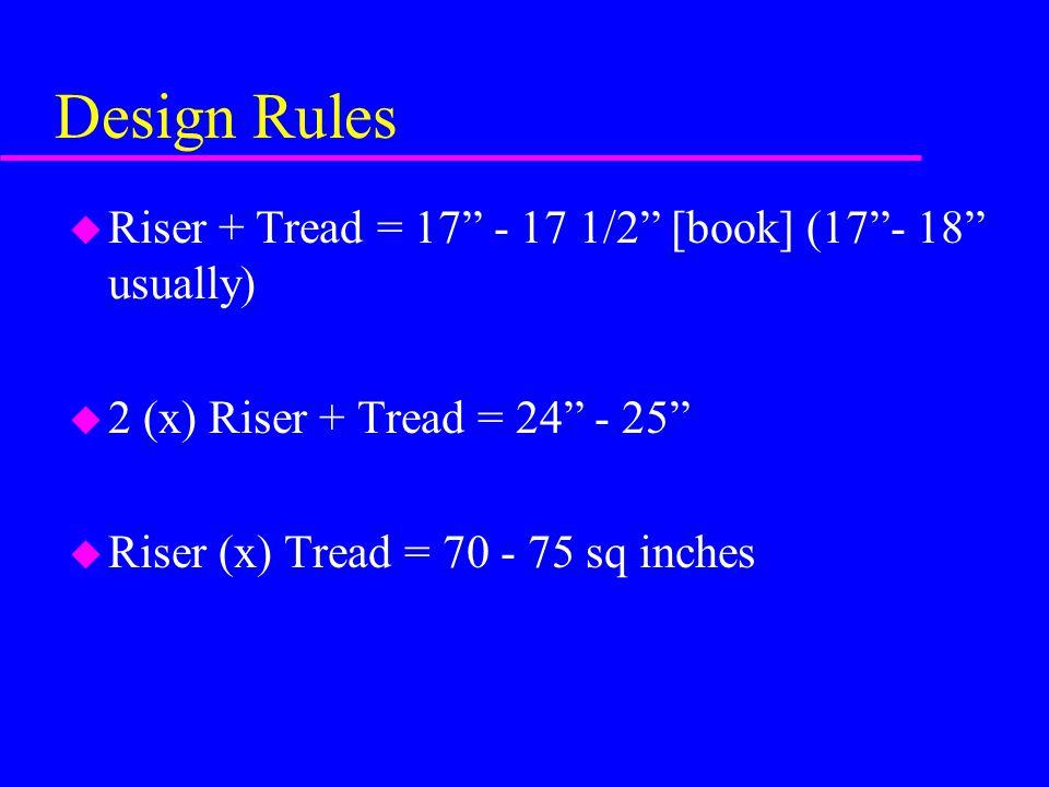 "Design Rules u Riser + Tread = 17"" - 17 1/2"" [book] (17""- 18"" usually) u 2 (x) Riser + Tread = 24"" - 25"" u Riser (x) Tread = 70 - 75 sq inches"