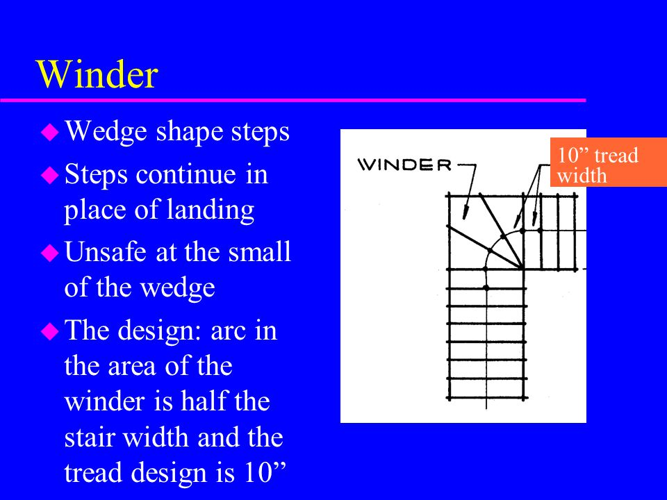 Spiral and Curved u Spiral Stairs u Used as an additional stair--not used as the main stairs, follow code requirements u Used for unique design with requirements such as –limited or tight spaces –aesthetics –extra/addition stairs u Curved Stairs