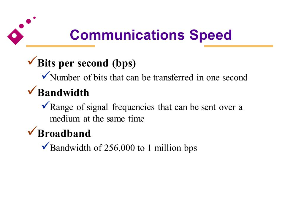 Communications Speed Bits per second (bps) Number of bits that can be transferred in one second Bandwidth Range of signal frequencies that can be sent