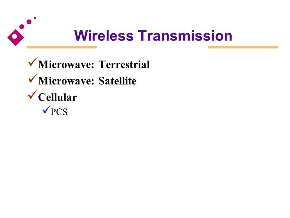 Wireless Transmission Microwave: Terrestrial Microwave: Satellite Cellular PCS