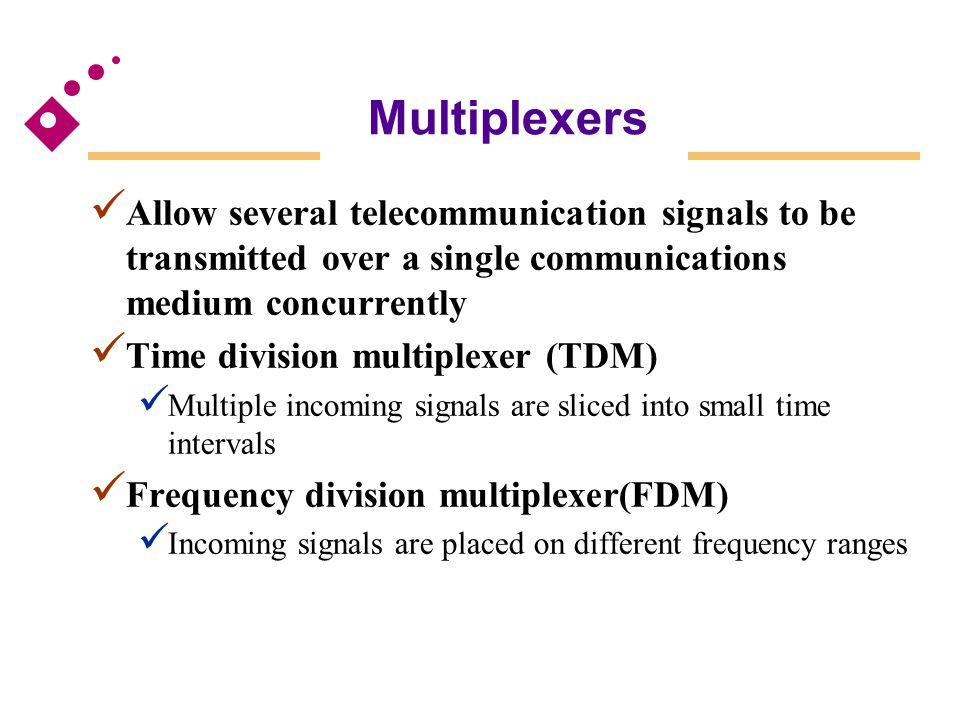 Multiplexers Allow several telecommunication signals to be transmitted over a single communications medium concurrently Time division multiplexer (TDM