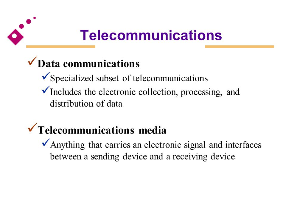 Packet switching Communications process that divides electronic messages into small segments (data packets) Frame relay Uses wideband communications media and high speed switching devices Voice-over frame relay Moves voice traffic onto frame relay to bypass the public telephone network Data Transfer Modes