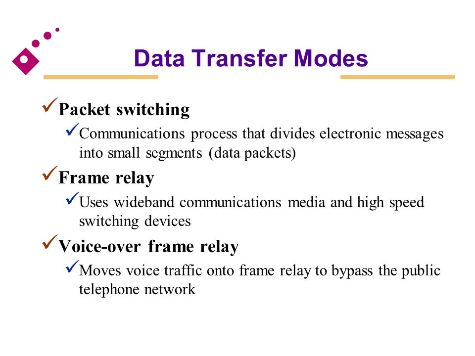 Packet switching Communications process that divides electronic messages into small segments (data packets) Frame relay Uses wideband communications m