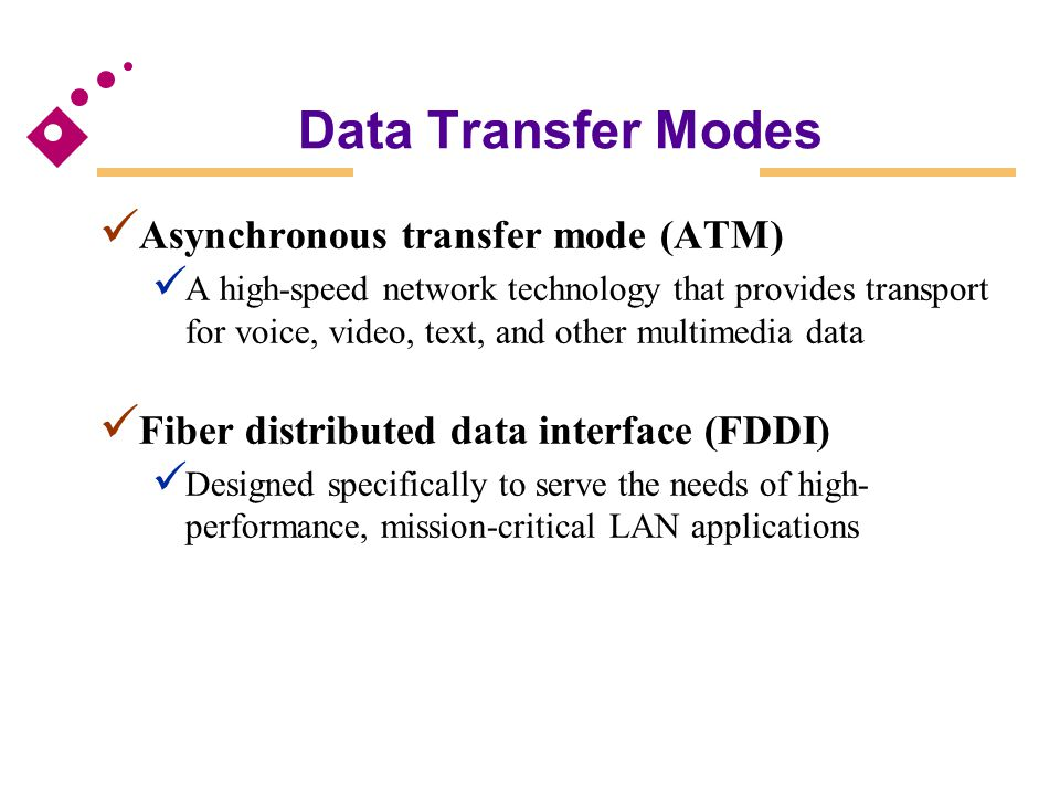 Asynchronous transfer mode (ATM) A high-speed network technology that provides transport for voice, video, text, and other multimedia data Fiber distr