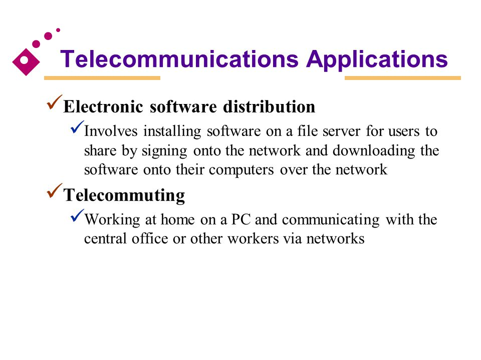 Telecommunications Applications Electronic software distribution Involves installing software on a file server for users to share by signing onto the