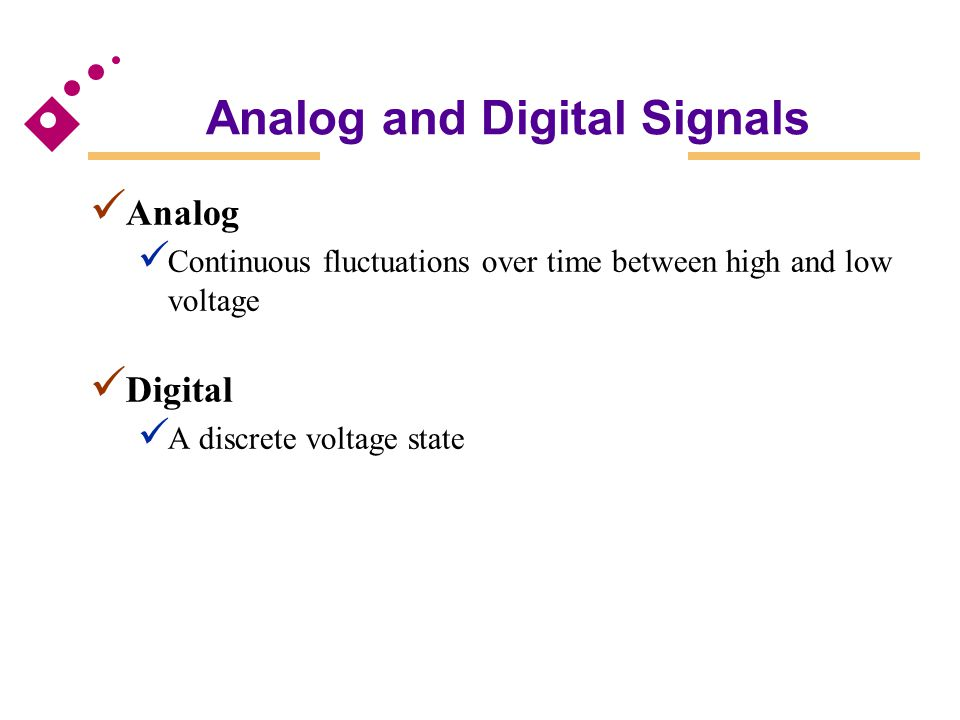 Analog and Digital Signals Analog Continuous fluctuations over time between high and low voltage Digital A discrete voltage state