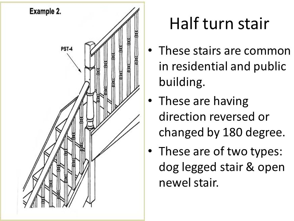 Dog legged stair Newel post are provided at the beginning and end of each flight.