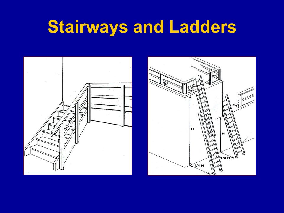 Stairways and ladders cause many injuries and fatalities among construction workers About half the injuries caused by slips, trips and falls from ladders and stairways require time off the job Hazards Improper use of the top rung of a step ladder