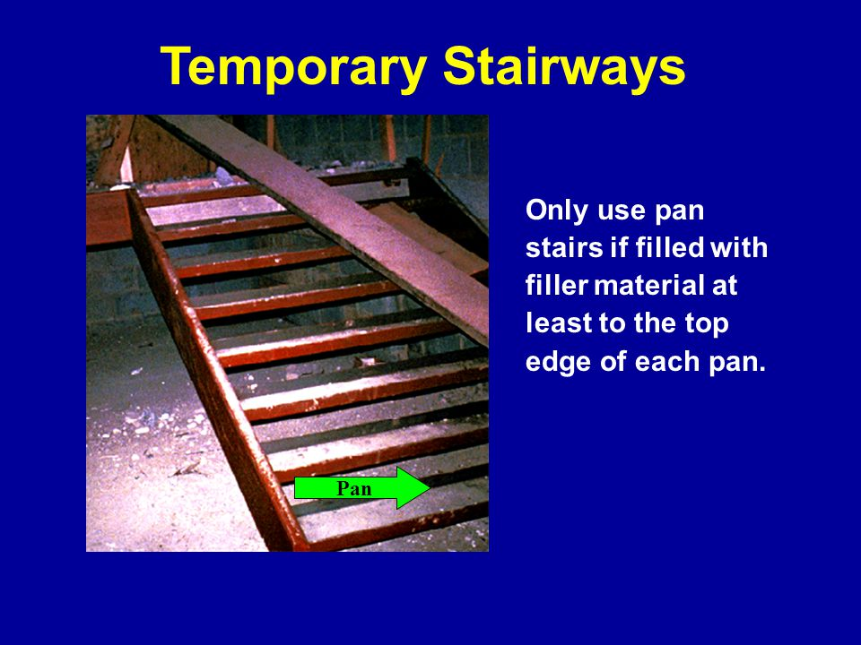 Stairways landings must be at least 30 inches deep and 22 inches wide at every 12 feet or less of vertical rise Unprotected sides of landings must have standard 42 inch guardrail systems Stairway Landings Landing