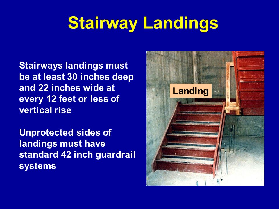 Where doors or gates open directly on a stairway, provide a platform that extends at least 20 inches beyond the swing of the door.