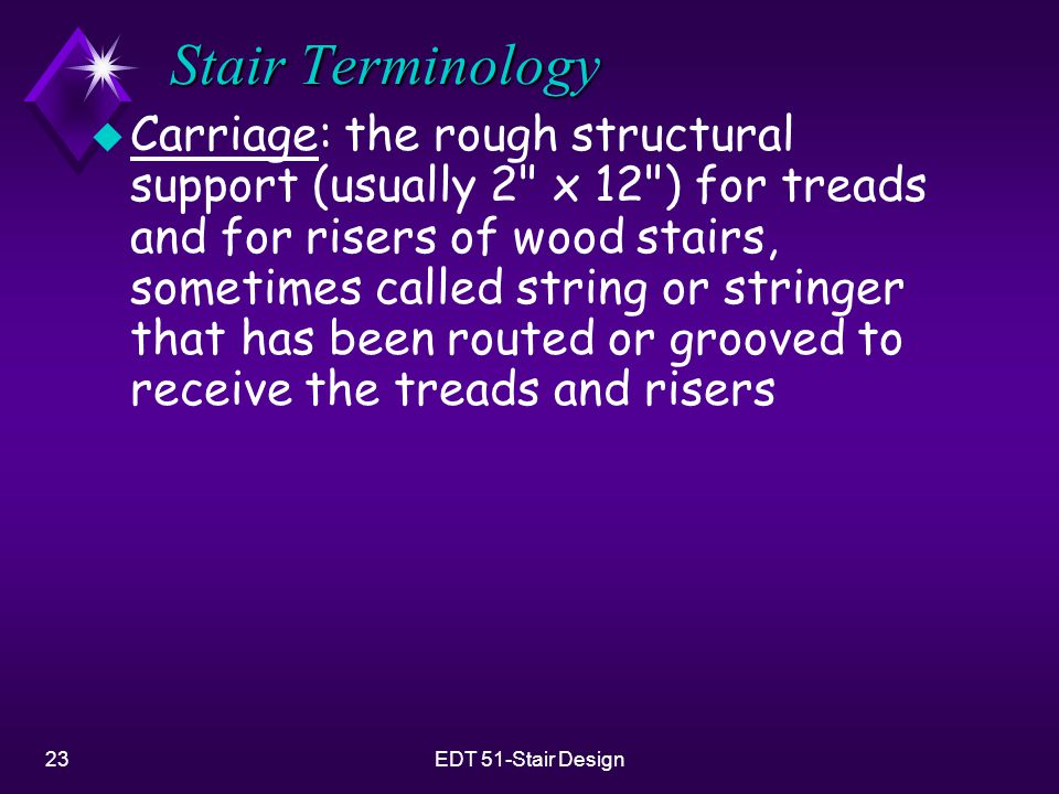 23EDT 51-Stair Design Stair Terminology u Carriage: the rough structural support (usually 2