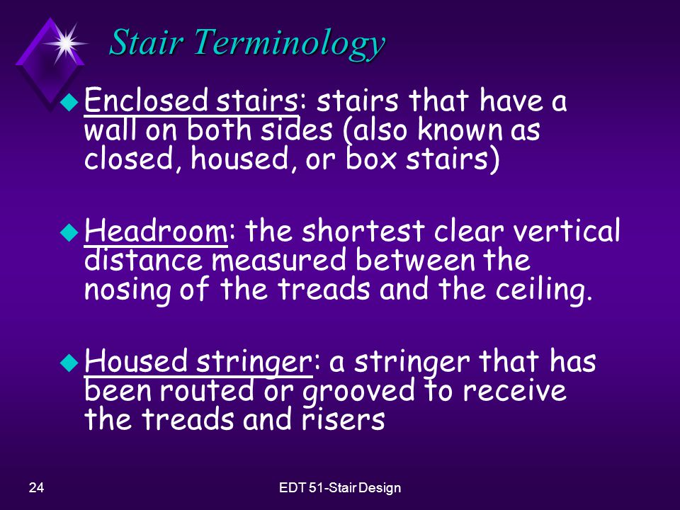 24EDT 51-Stair Design Stair Terminology u Enclosed stairs: stairs that have a wall on both sides (also known as closed, housed, or box stairs) u Headr