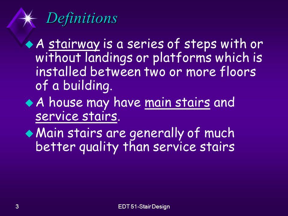 4EDT 51-Stair Design Definitions u Six general types of stairs u Straight run u L Stairs u Double-L stairs u U Stairs u Winder stairs u Spiral stairs u Circular stairs