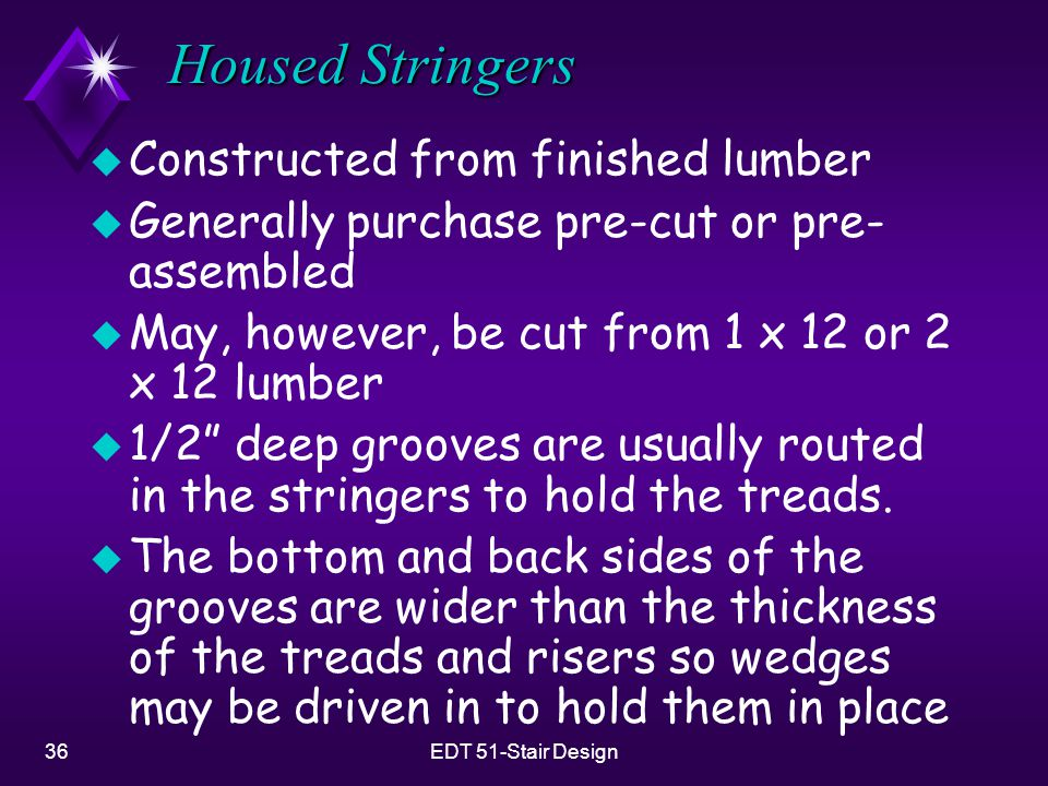 36EDT 51-Stair Design Housed Stringers u Constructed from finished lumber u Generally purchase pre-cut or pre- assembled u May, however, be cut from 1