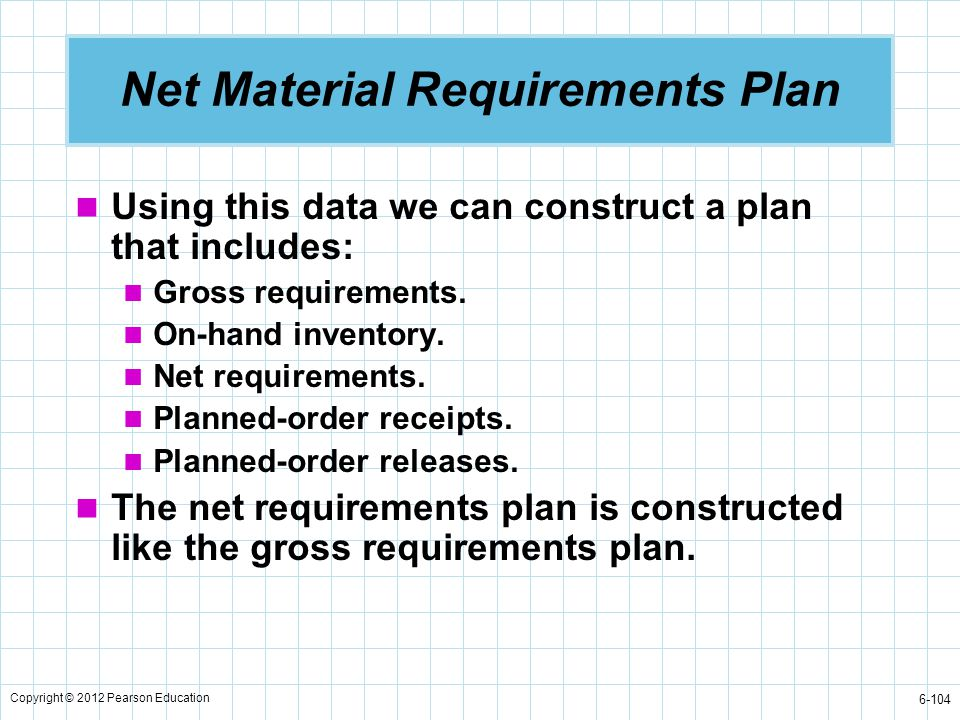 Copyright © 2012 Pearson Education 6-104 Net Material Requirements Plan Using this data we can construct a plan that includes: Gross requirements. On-