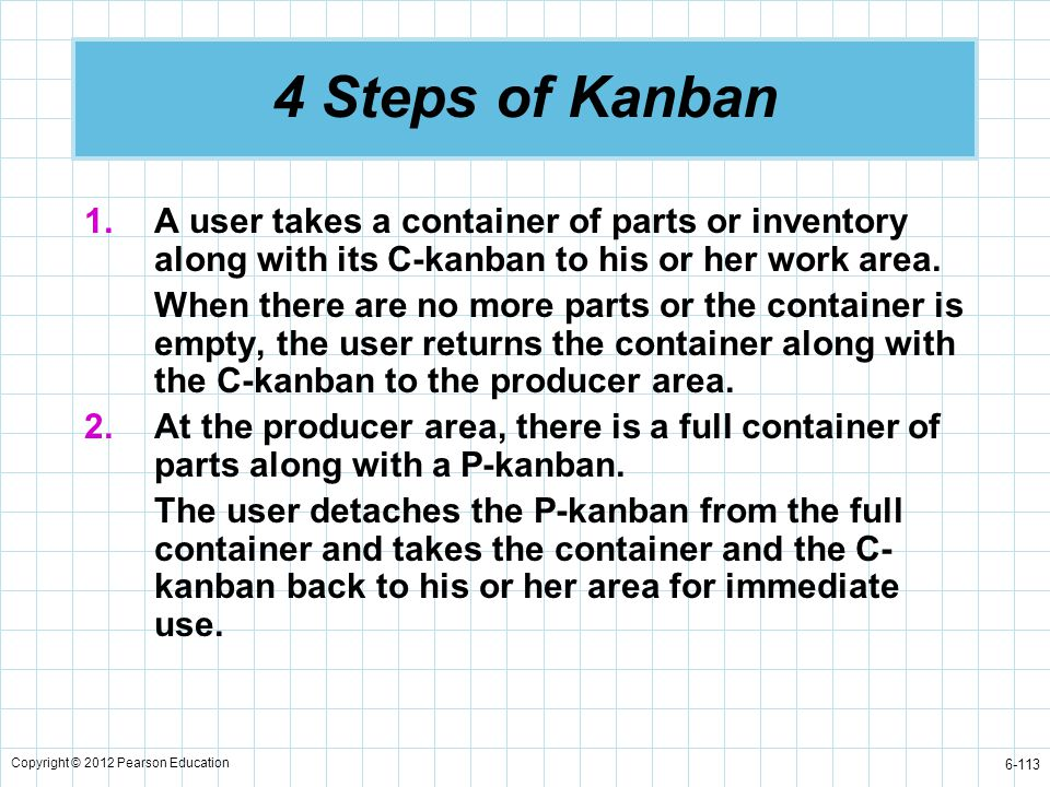 Copyright © 2012 Pearson Education 6-113 4 Steps of Kanban 1.A user takes a container of parts or inventory along with its C-kanban to his or her work