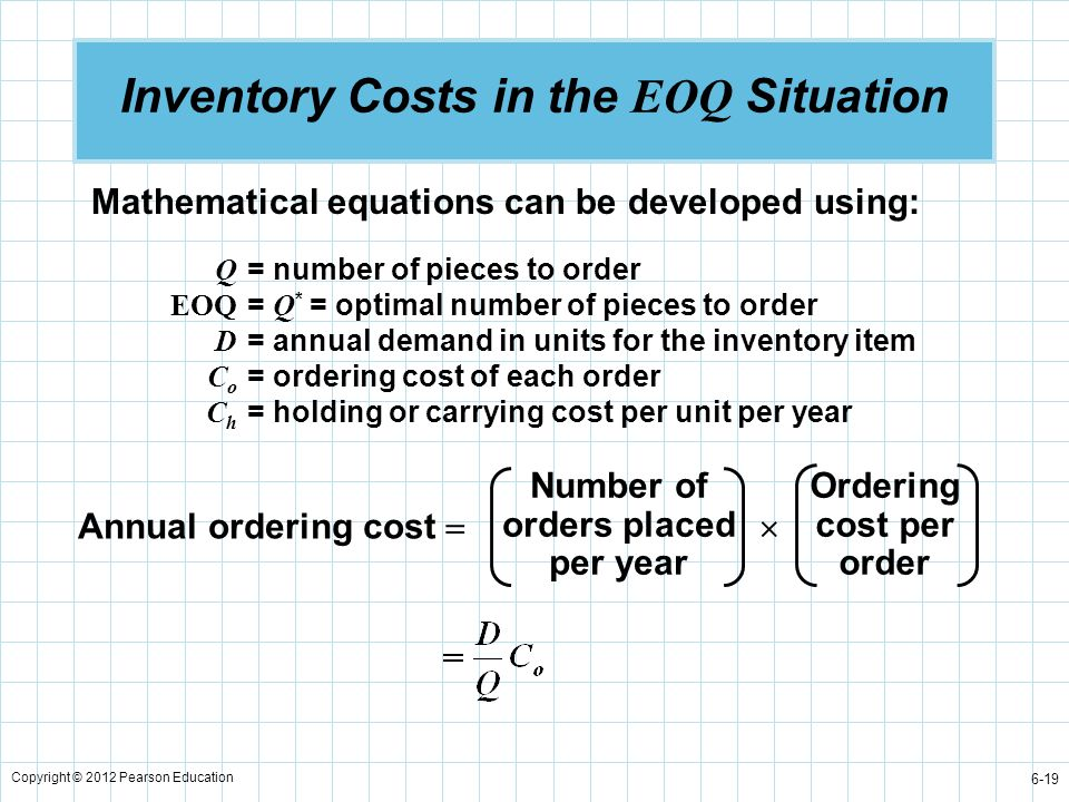 Copyright © 2012 Pearson Education 6-19 Inventory Costs in the EOQ Situation Mathematical equations can be developed using: Q = number of pieces to or