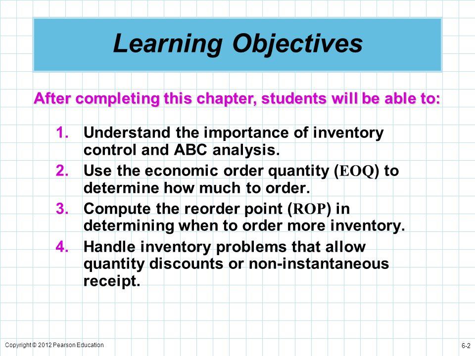 Copyright © 2012 Pearson Education 6-23 Economic Order Quantity ( EOQ ) Model Summary of equations: