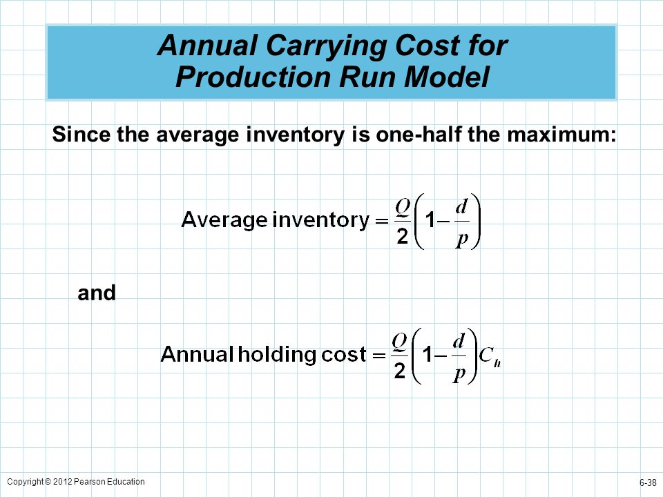 Copyright © 2012 Pearson Education 6-38 Annual Carrying Cost for Production Run Model Since the average inventory is one-half the maximum: and