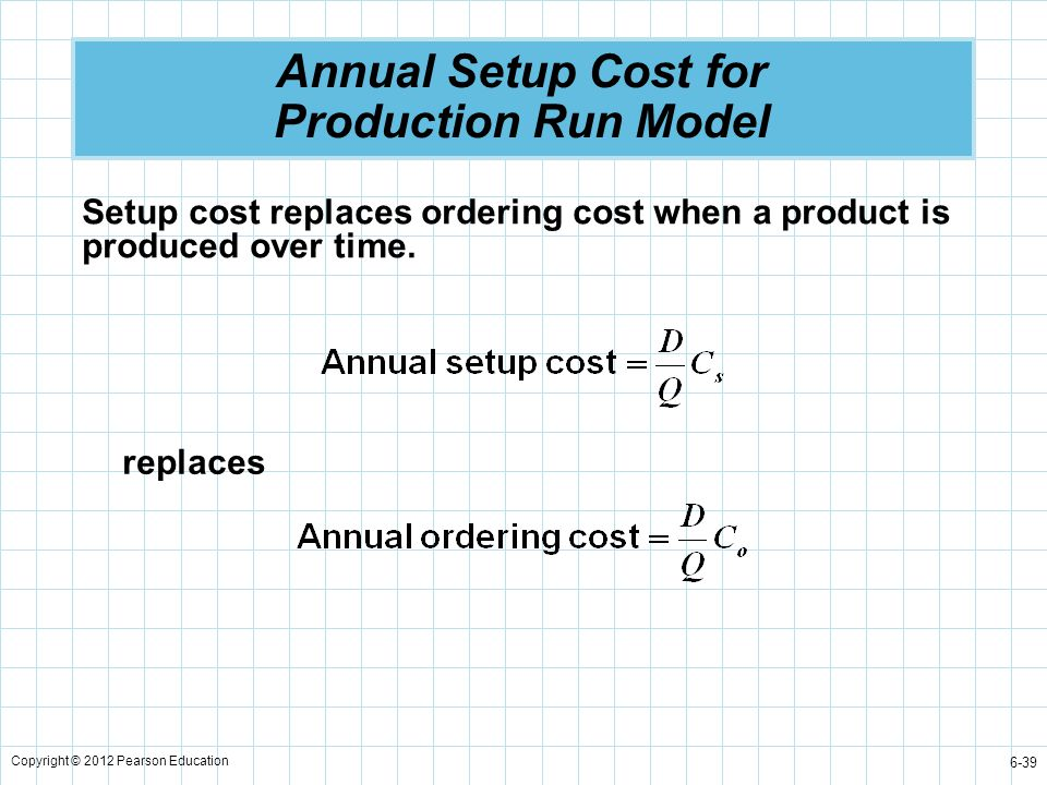 Copyright © 2012 Pearson Education 6-39 Annual Setup Cost for Production Run Model Setup cost replaces ordering cost when a product is produced over t