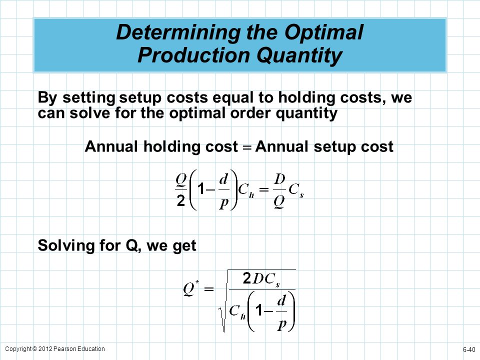 Copyright © 2012 Pearson Education 6-40 Determining the Optimal Production Quantity By setting setup costs equal to holding costs, we can solve for th