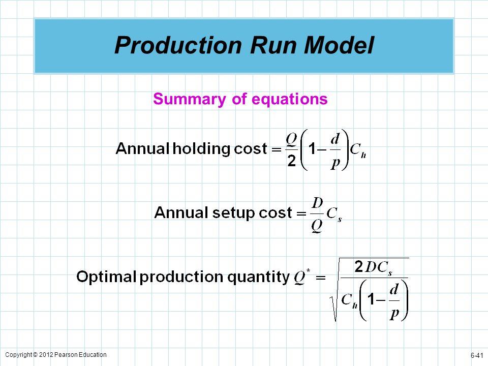 Copyright © 2012 Pearson Education 6-41 Production Run Model Summary of equations