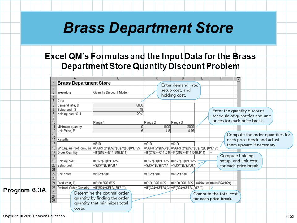 Copyright © 2012 Pearson Education 6-53 Brass Department Store Program 6.3A Excel QM's Formulas and the Input Data for the Brass Department Store Quan