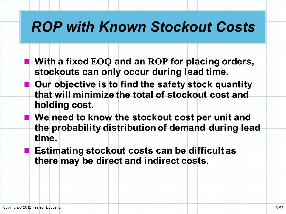 Copyright © 2012 Pearson Education 6-58 ROP with Known Stockout Costs With a fixed EOQ and an ROP for placing orders, stockouts can only occur during