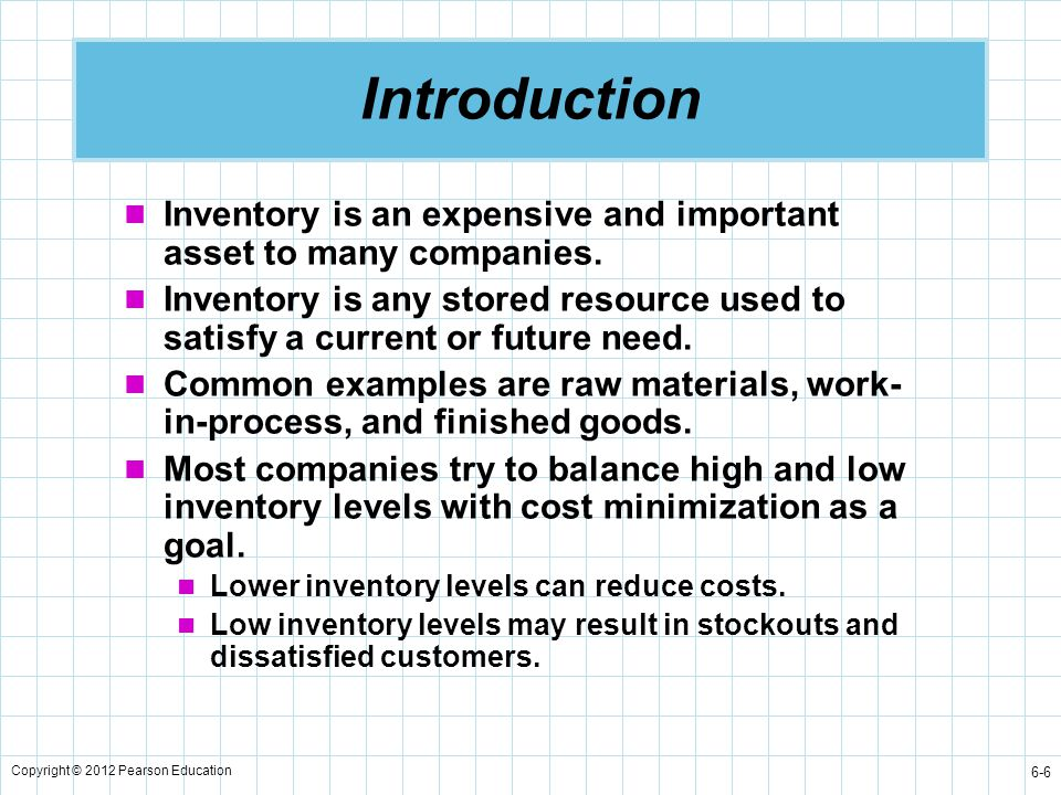 Copyright © 2012 Pearson Education 6-37 Annual Carrying Cost for Production Run Model Maximum inventory level  (Total produced during the production run) – (Total used during the production run)  (Daily production rate)(Number of days production) – (Daily demand)(Number of days production)  ( pt ) – ( dt ) since Total produced  Q  pt we know Maximum inventory level