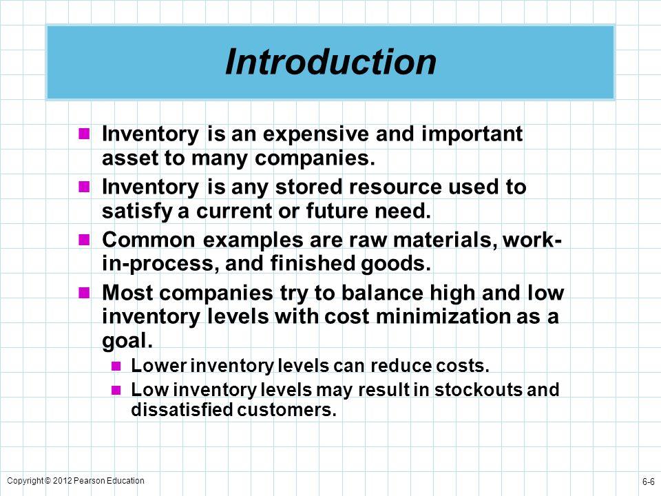 Copyright © 2012 Pearson Education 6-17 Inventory Usage Over Time Time Inventory Level Minimum Inventory 0 Order Quantity = Q = Maximum Inventory Level Figure 6.2