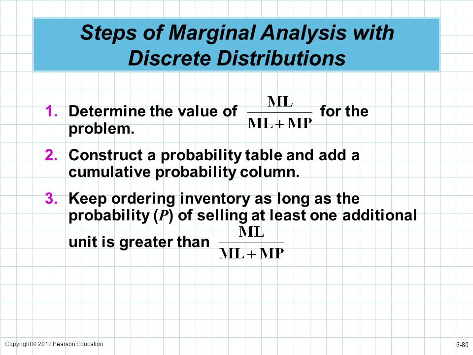Copyright © 2012 Pearson Education 6-80 Steps of Marginal Analysis with Discrete Distributions 1.Determine the value of for the problem. 2.Construct a