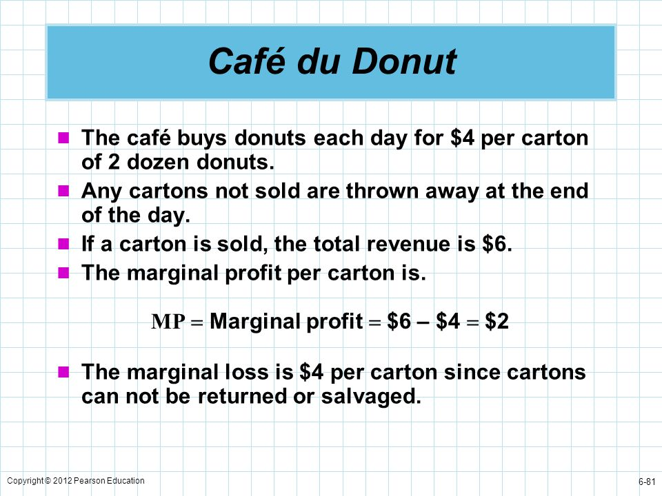 Copyright © 2012 Pearson Education 6-81 Café du Donut The café buys donuts each day for $4 per carton of 2 dozen donuts. Any cartons not sold are thro
