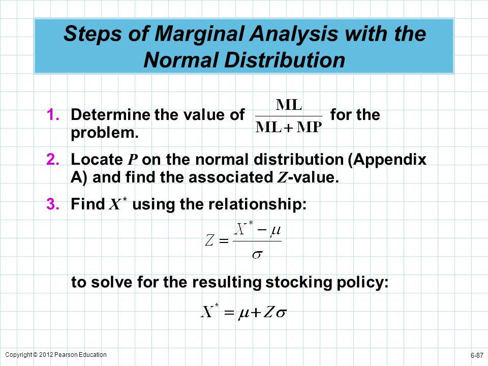Copyright © 2012 Pearson Education 6-87 Steps of Marginal Analysis with the Normal Distribution 1.Determine the value of for the problem. 2.Locate P o