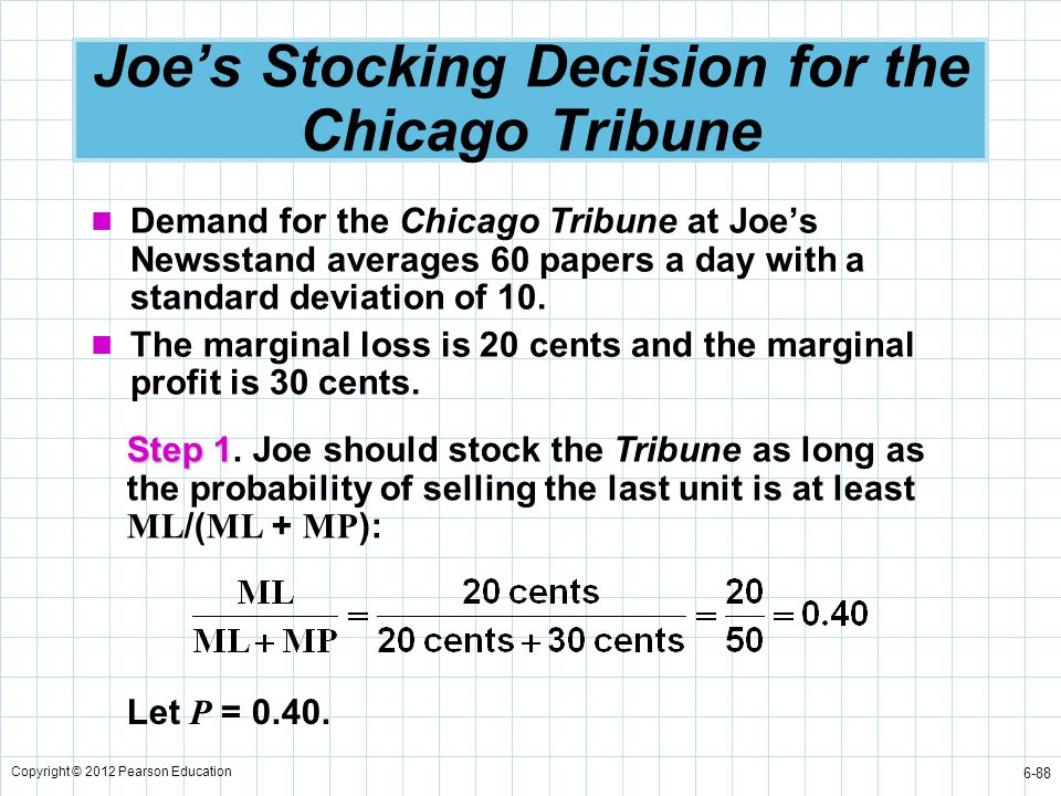 Copyright © 2012 Pearson Education 6-88 Joe's Stocking Decision for the Chicago Tribune Demand for the Chicago Tribune at Joe's Newsstand averages 60