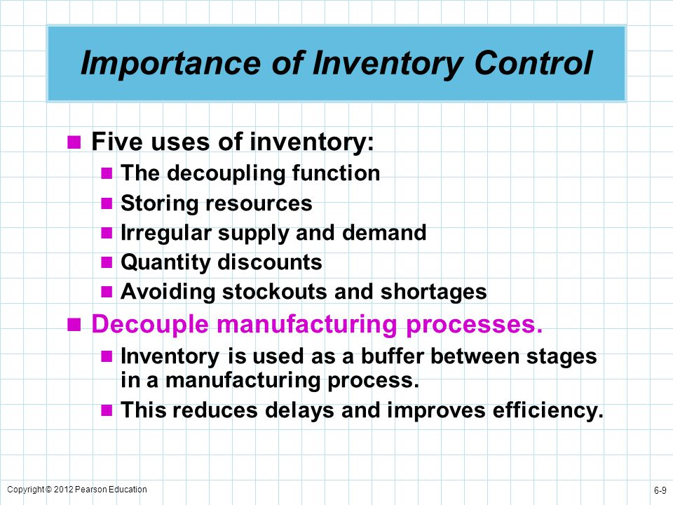 Copyright © 2012 Pearson Education 6-20 Inventory Costs in the EOQ Situation Mathematical equations can be developed using: Q = number of pieces to order EOQ = Q * = optimal number of pieces to order D = annual demand in units for the inventory item C o = ordering cost of each order C h = holding or carrying cost per unit per year Annual holding cost   Average inventory Carrying cost per unit per year