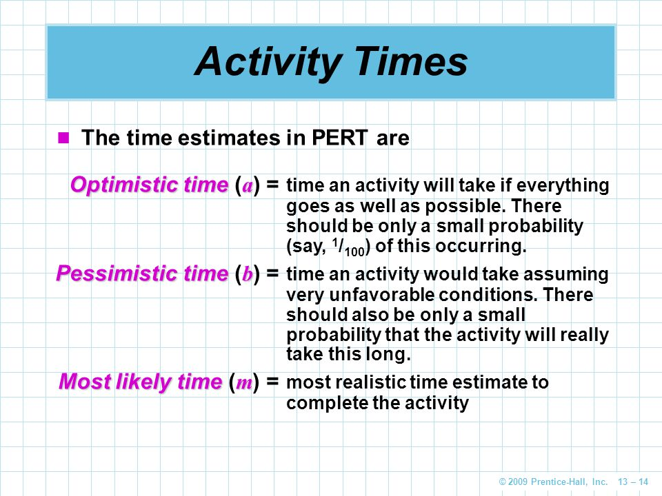 © 2009 Prentice-Hall, Inc. 13 – 14 Activity Times The time estimates in PERT are Optimistic time a Optimistic time ( a ) = time an activity will take